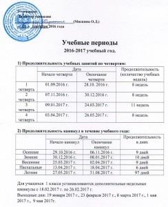 Учебные периоды 2016-2017